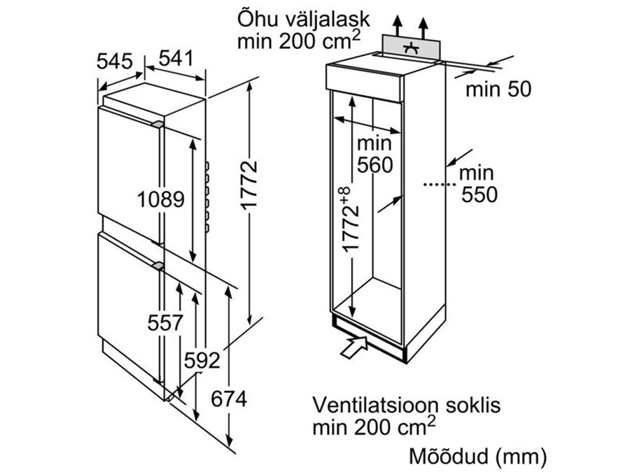 Integreeritav külmik Siemens KI38VV20