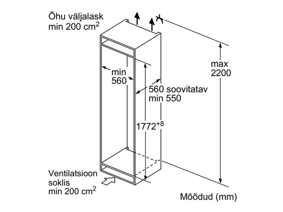 Integreeritav külmik Bosch KIN85AF30