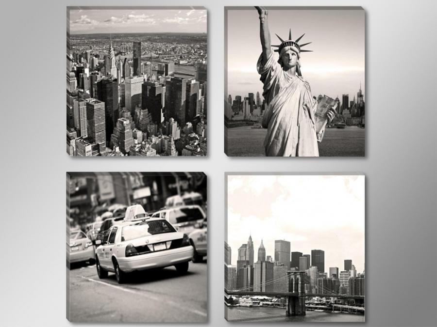 Neljast osast koosnev seinapilt New York USA