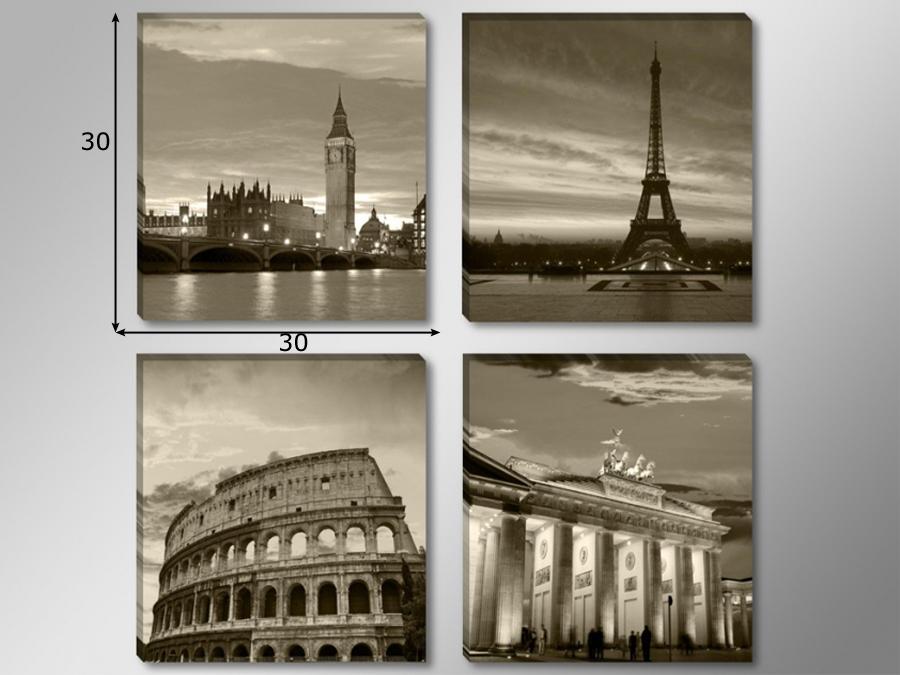 Neljast osast koosnev seinapilt Riigid