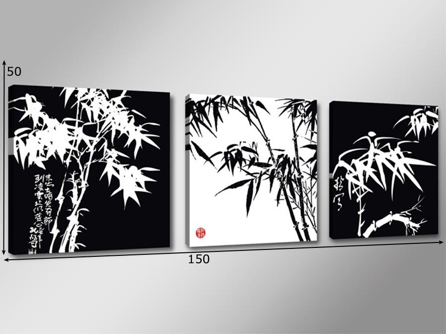 Kolmest osast koosnev seinapilt Must ja valge