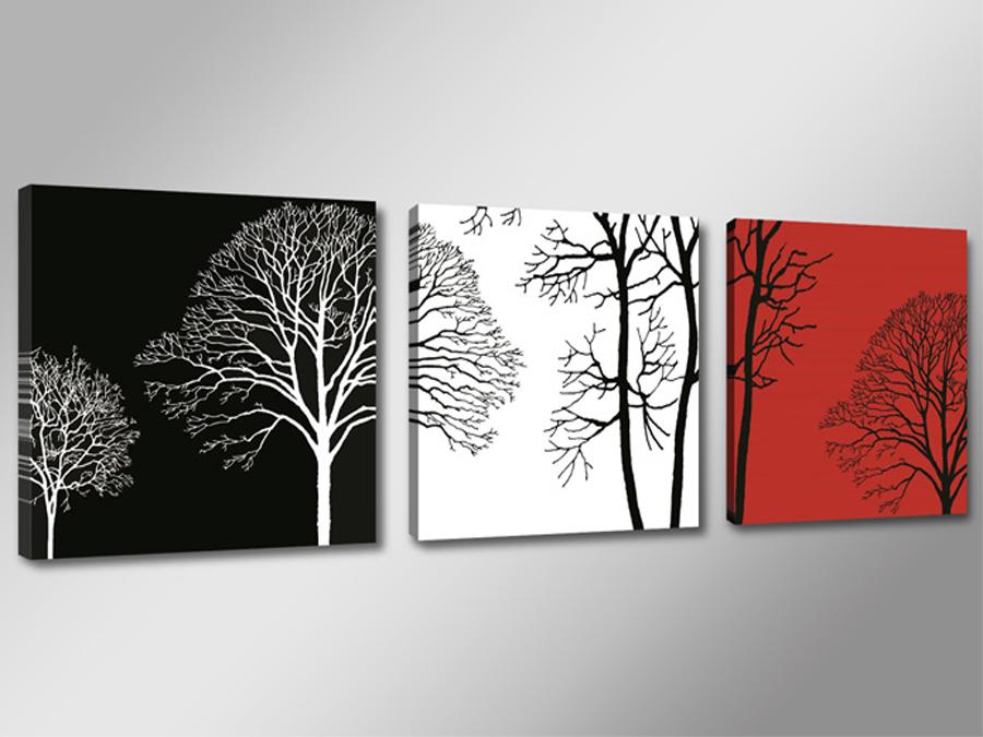Kolmest osast koosnev seinapilt Puud