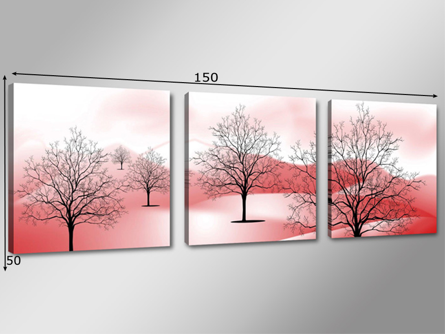 Kolmest osast koosnev seinapilt Raagus puud