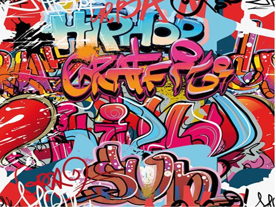 Fototapeet HIP HOP GRAFFITI WALL