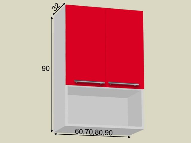 Seinakapp riiuli ja 2 uksega (kõrgus 90cm)