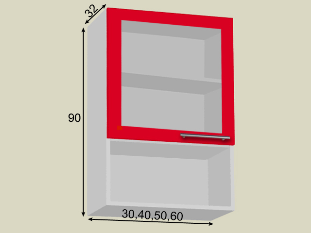 Seinakapp riiuli ja 1 klaasuksega (kõrgus 90cm)