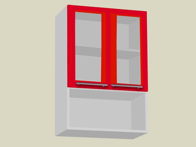 Seinakapp riiuli ja 2 klaasuksega (kõrgus 90cm)